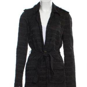 Gryphon New York black textured tweed coat jacket